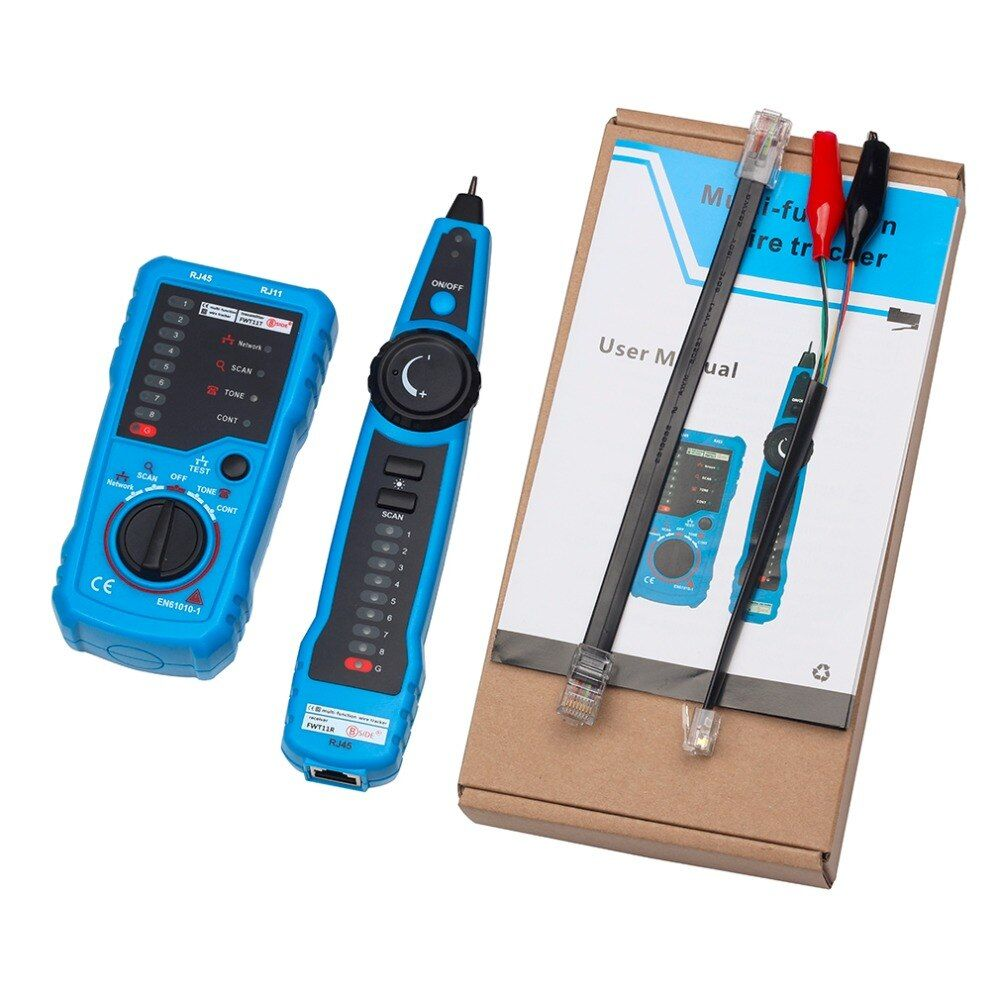 FWT11 Toner Ethernet Detector Line Finder RJ11 RJ45 Crimper Cat5 Cat6 LAN Tester LAN Network Cable Tester Telephone Wire Tracker