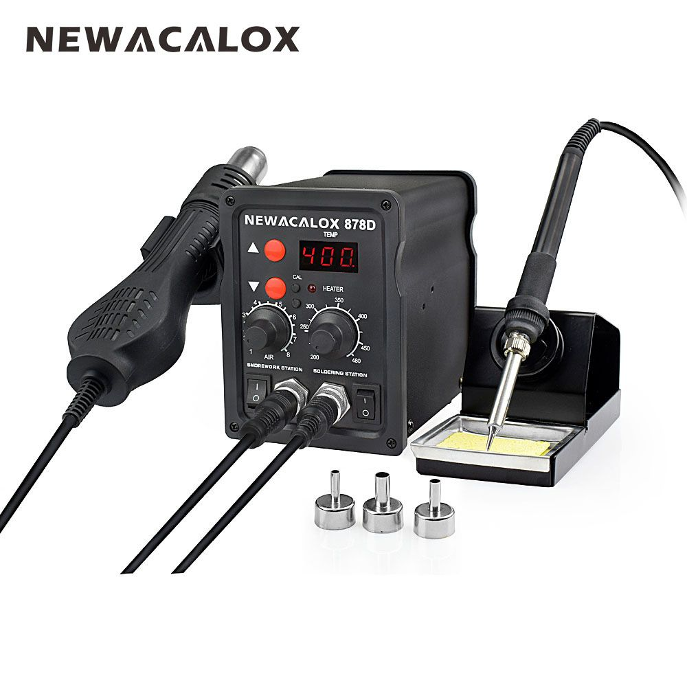 NEWACALOX EU Plug <font><b>220V</b></font> 700W Rework Soldering Station Thermoregulator Soldering Iron Hot Air Desoldering Gun Welding Tool Kit