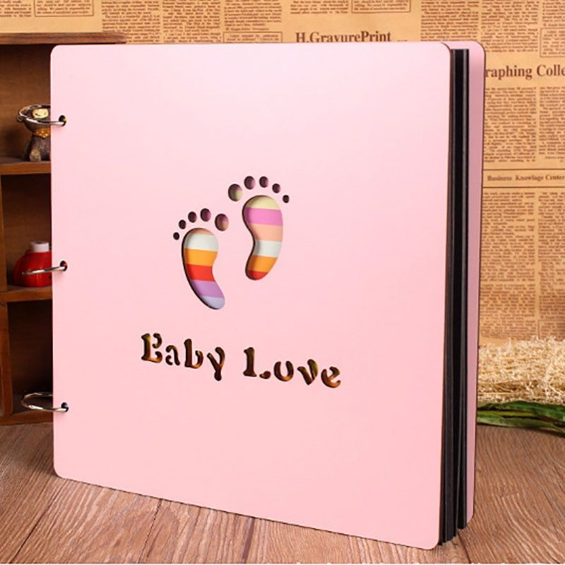4 Styles 2 Colors 16 Inch Wooden Baby DIY Album Growth Photo Albums Creative Hand-paste Pink And Blue Colors