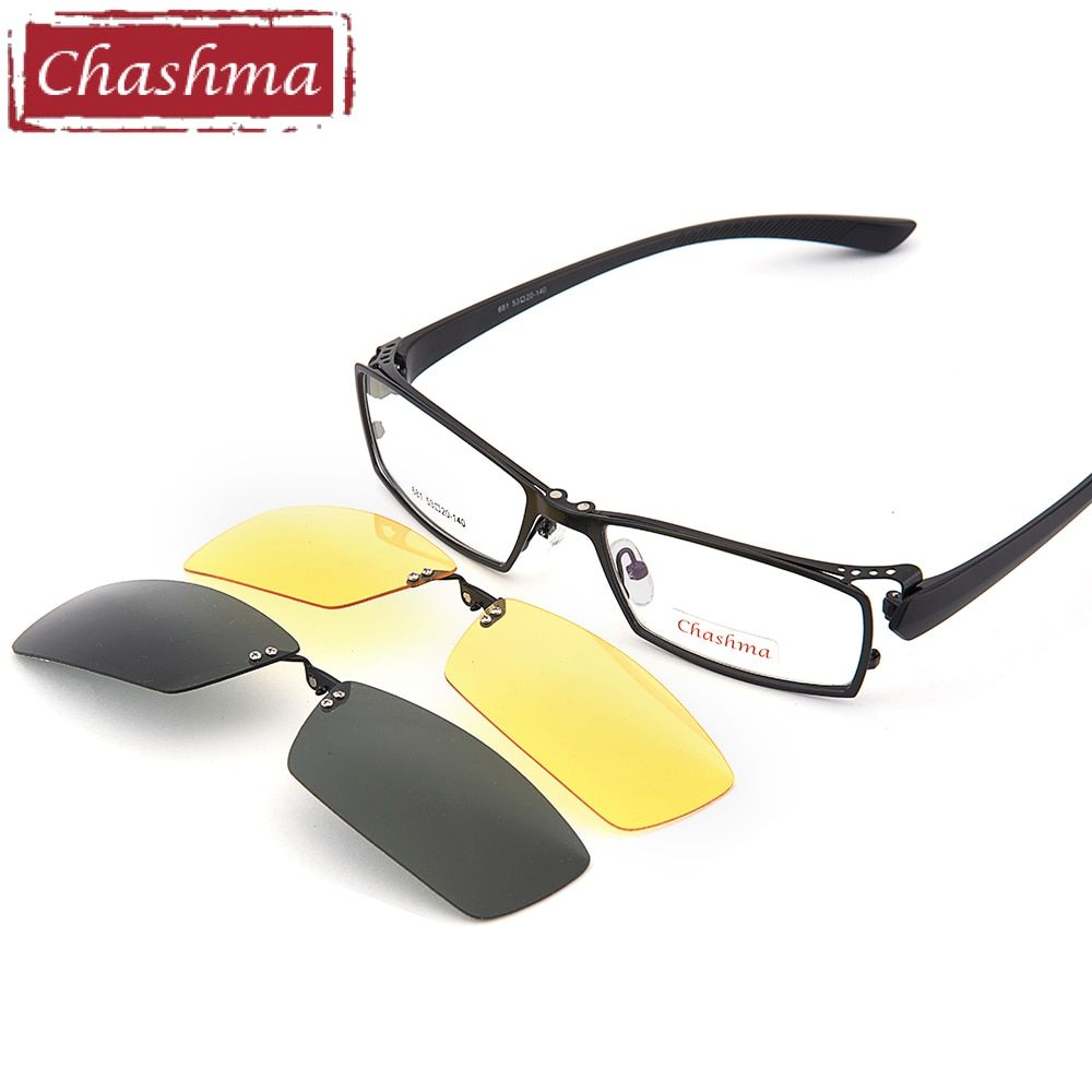 Chashma Day and Night Driving Polarized <font><b>Clip</b></font> Sunglasses Glasses Quality Optical Mopia Frame Eyeglasses Male