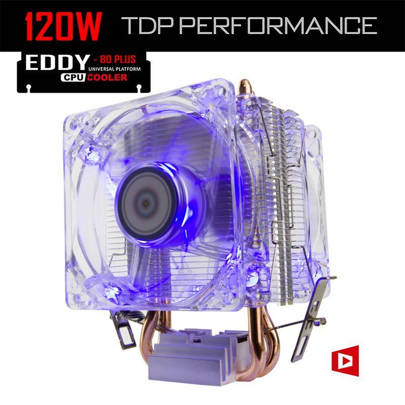 ALSEYE CPU Refroidisseur TDP 120 W Double 80mm LED Fan 2200 RPM et 2 Caloducs Radiateur Radiateur pour i3/i5/i7 LGA 775/115x/1366/AM2 +/AM3 +