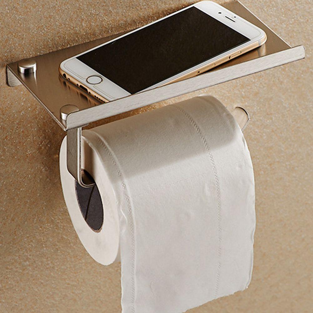 Stainless Steel Phone Toilet Paper Holder with Shelf Bathroom Mobile Phones Towel Rack Toilet Roll Tissue Holder