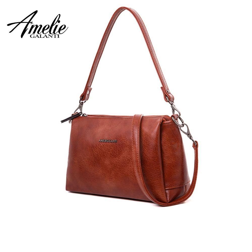 AMELIE GALANTI Kompakte Umhängetaschen mit Drei Wichtigsten Fächer Kleine Frauen Schulter Taschen Weiche PU Leder Handtaschen für Frau