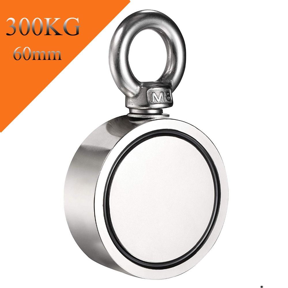 D60mm Neodymium magnet super powerful hole Double-sided salvage fishing magnet Circular Ring hook permanent holder Steel