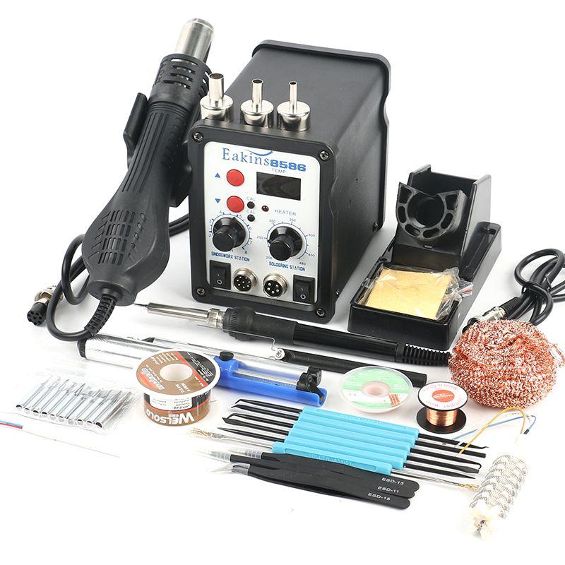 8586 2 in 1 ESD Soldering Station SMD Rework Soldering Station Hot Air Gun set kit Welding Repair tools Solder Iron EU 220V/110V