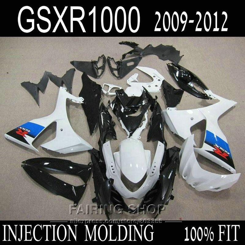 Neue heiße spritzguss verkleidungen für Suzuki GSXR1000 09 10 11 12 weiß schwarz blau verkleidung kit GSXR 1000 2009 2010 2011 2012 OI36