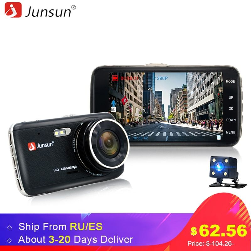 Junsun 4.0 IPS Car DVR Camera Dual Lens Dash Cam FHD <font><b>1080P</b></font> with Rear view Auto Registrator Digital Video Recorder Camcorder