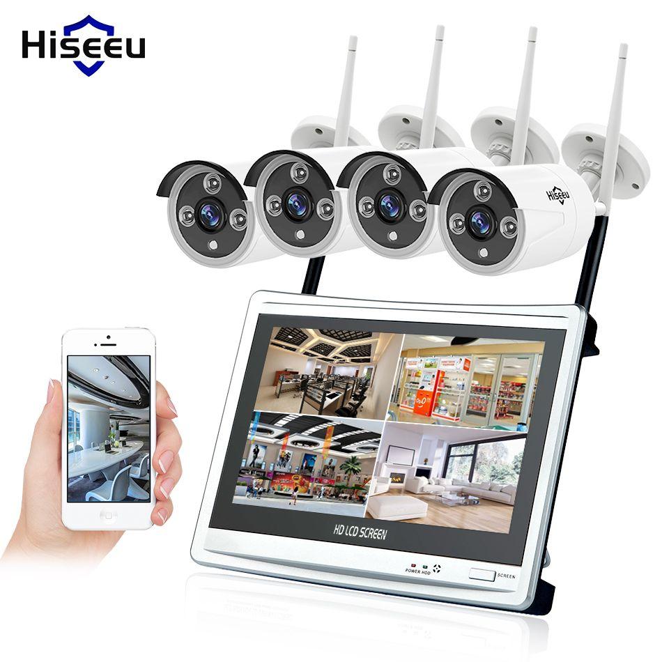 Hiseeu 4CH 1080P Wireless NVR Kits 12' LCD display HD outdoor security 2MP IP Camera video surveillance wifi cctv camera system