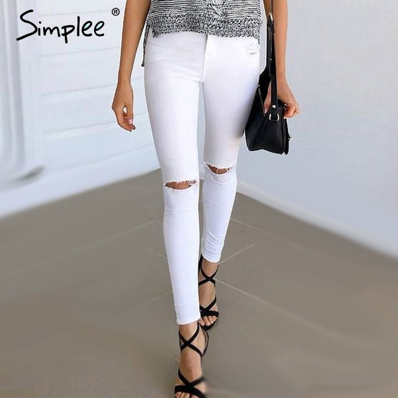 Simplee Summer <font><b>style</b></font> white hole ripped jeans Women jeggings cool denim high waist pants capris Female skinny black casual jeans
