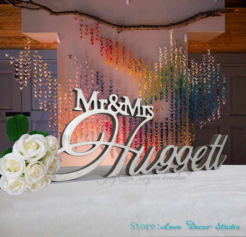 Personnalisé Mr & Mrs nom de famille Table de mariage signe grande pièce maîtresse décoration personnalisé signe signe personnalisé signe de mariage nom de famille