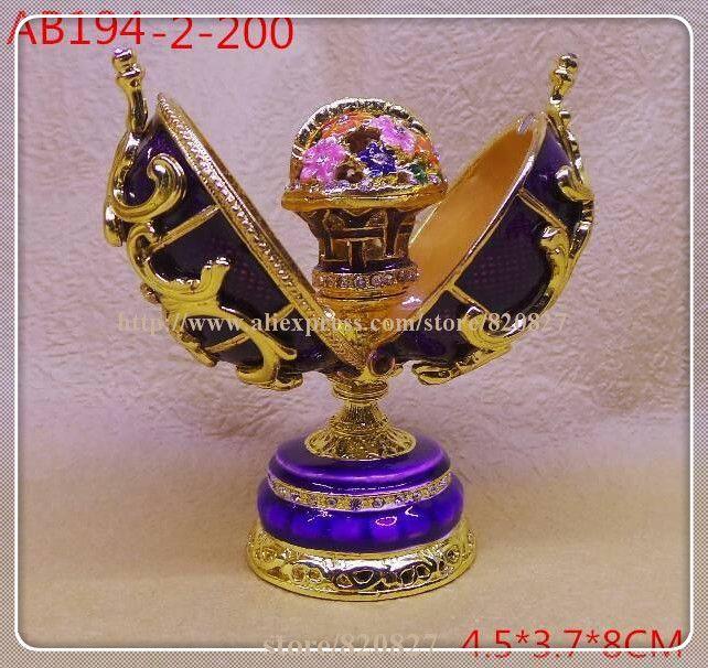 Oeuf de pâques faberge bibelot boîte oeuf bijoux boîte de rangement fait à la main vintage oeuf forme métal bijoux cadeau boîte