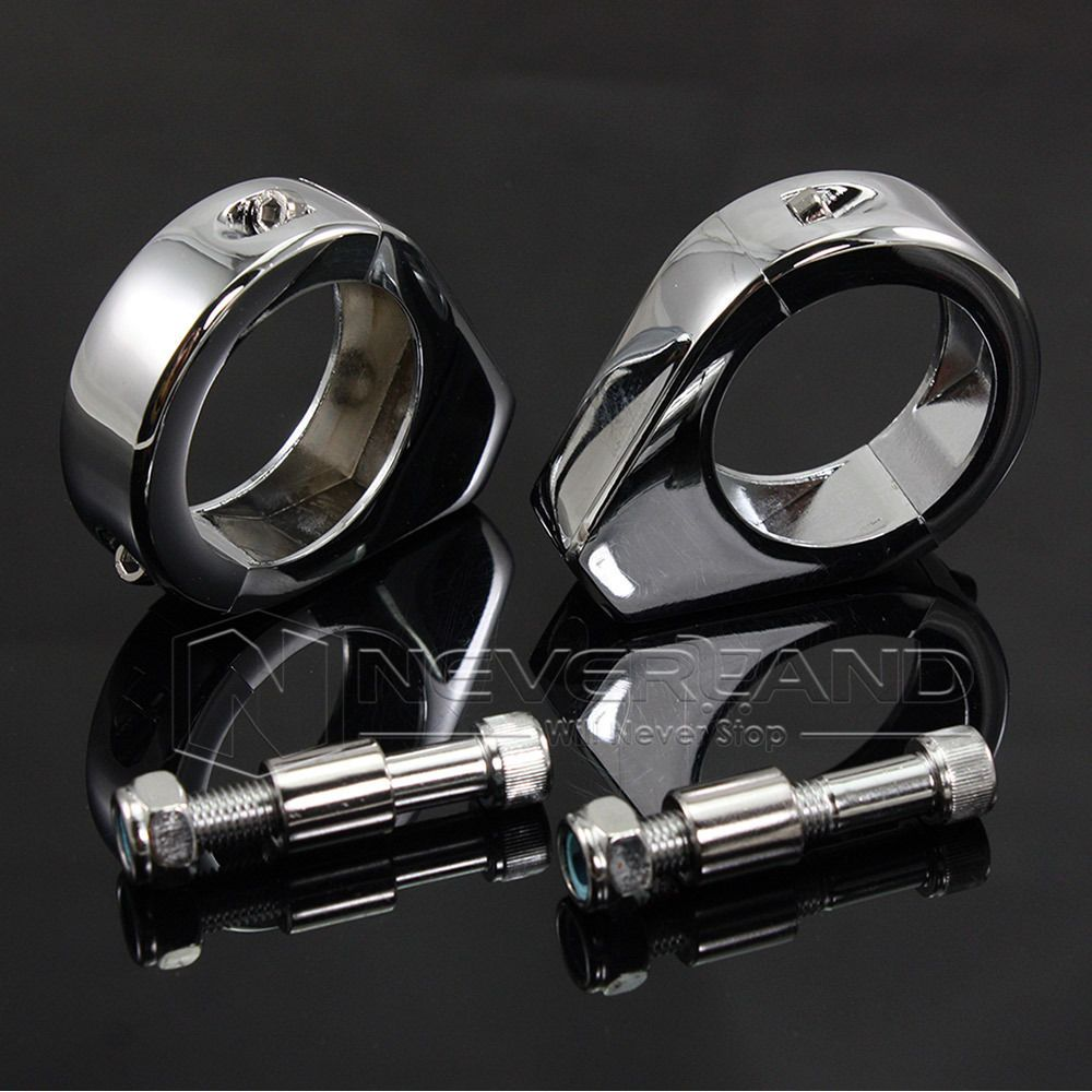 2pcs Chrome Aluminum Motorcycle Turn Signal Mount Bracket 41mm Fork Relocation Clamps For Harley D10