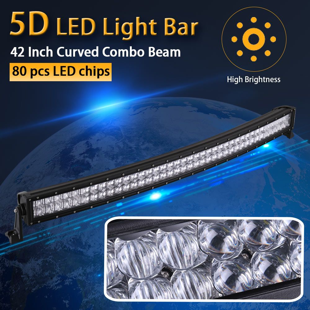 Real Power 5D 42 Inch 106cm Curved LED Light Bar 12V 24V Combo Beam for Offroad Boat Car Truck ATV SUV 4WD 4x4 Work Lamp