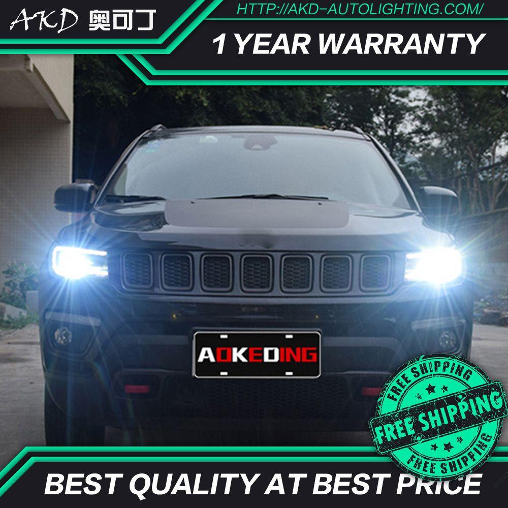 AKD tuning autos Scheinwerfer Für Jeep Kompass 2017 Scheinwerfer LED DRL Lauf lichter Bi-Xenon Strahl Nebel lichter engel augen Auto ebene