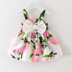 2017 Réel Genou-longueur Sans Manches Arc Mignon Nouveau Bébé Dress Filles Vêtements Slip Infantile Fille Robes Pour la Princesse D'anniversaire vente Chaude