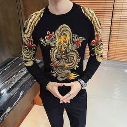 Luxury Emas Naga Cetak Pria Sweater Pullver Erkek Kazak Club Partai Tahap Pakaian Laki-laki Sweater Trui Heren