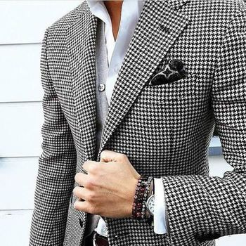 Mens Checkered Suit Houndstooth Custom Made Men Dress Suits,Tailored Casual Men Suits Duotone Weave Hounds Tooth Check,Dogstooth