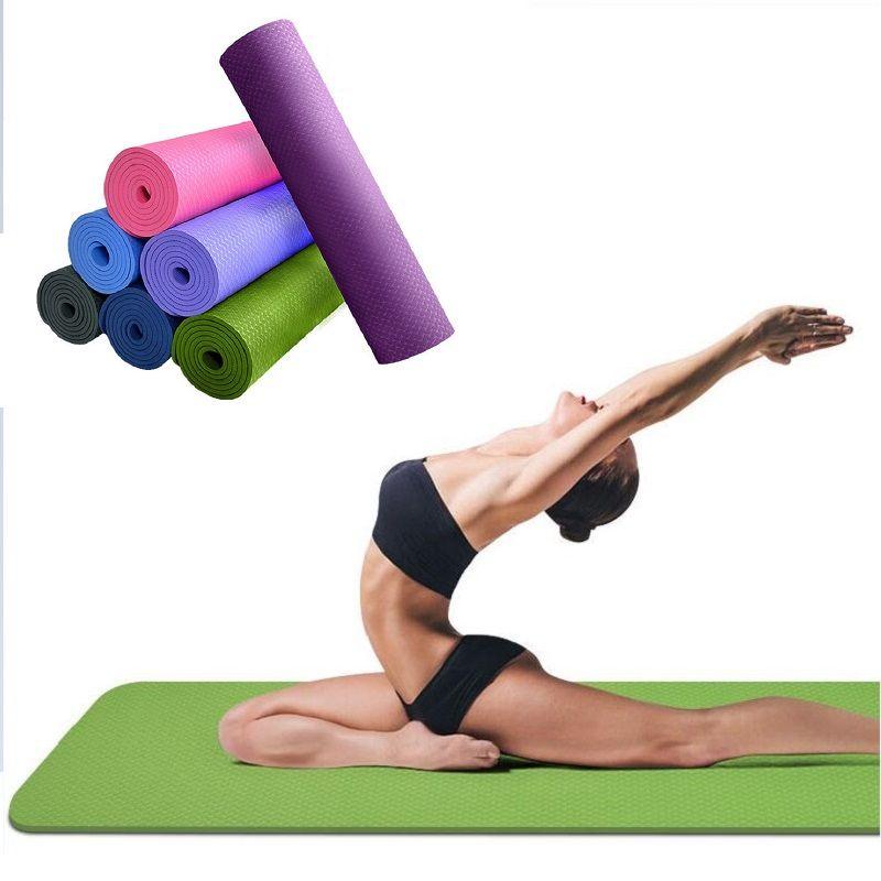 TPE Yoga Mat 6mm Pour Débutants Antidérapant le sport tapis antidérapant tapis de fitness colchonete gym tapis d'exercice 183*61*0.6 cm