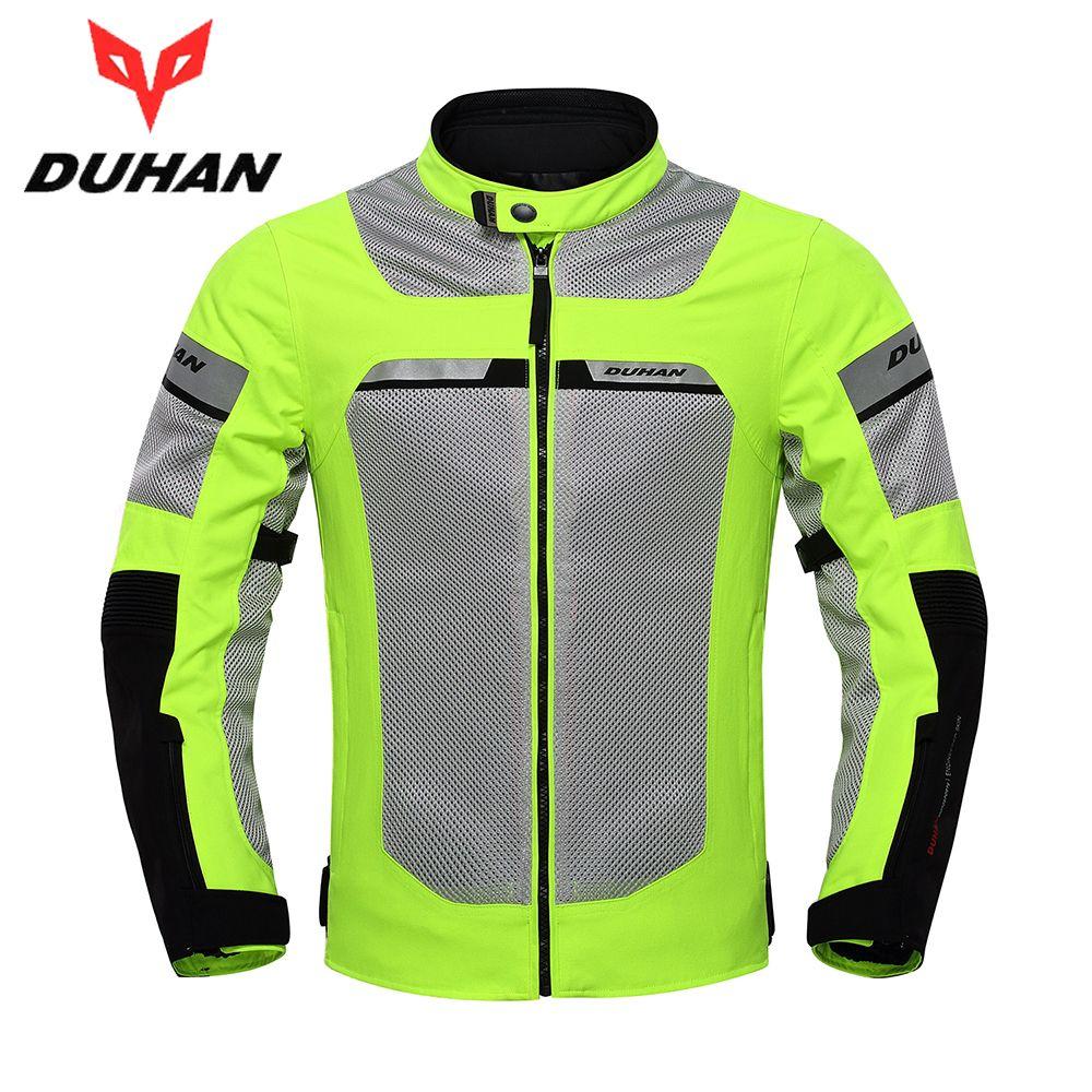DUHAN Motorcycle Jacket Men Motorbike Racing Jackets Protective Gear Summer Mesh Breathable Moto Jacket Black Fluorescent Green