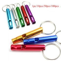 1/10/50/100pcs Multifunctional Aluminum Emergency Survival Whistle Keychain For Camping Hiking Outdoor Tools Training whistle