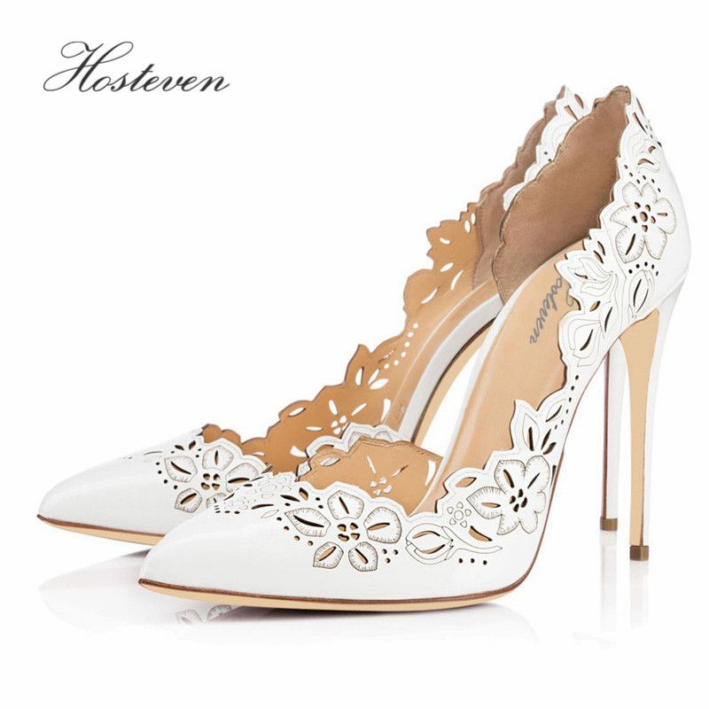 Hosteven Women's Shoes Spring Autumn Solid Flower Pumps Sexy Lady Super High Thin Heel Pointed Toe Ladies Pumps  Plus Size 34-46