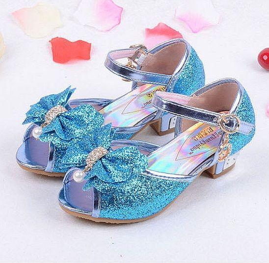 Новая модная детская Обувь на высоком каблуке сандалии в стиле принцессы для выпускного бала обувь для девочек высокого качества Нескользя...