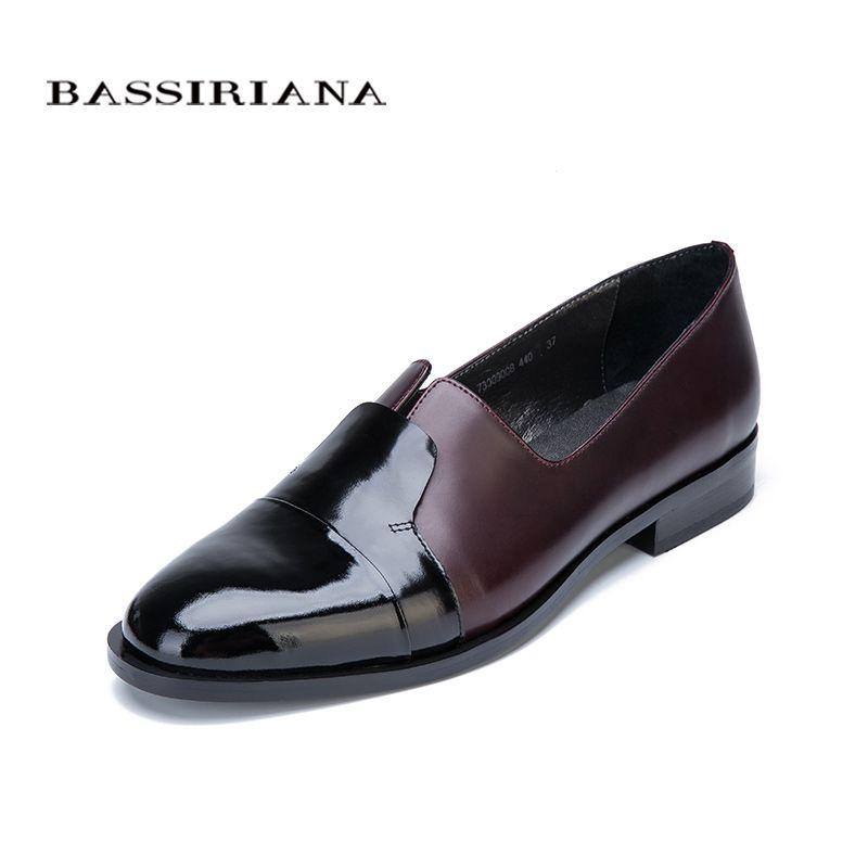 BASSIRIANA 2017 Nouveau Pompes Casual chaussures en cuir véritable femme bout rond Printemps/Automne Classics slip-sur 35-40 taille Livraison gratuite