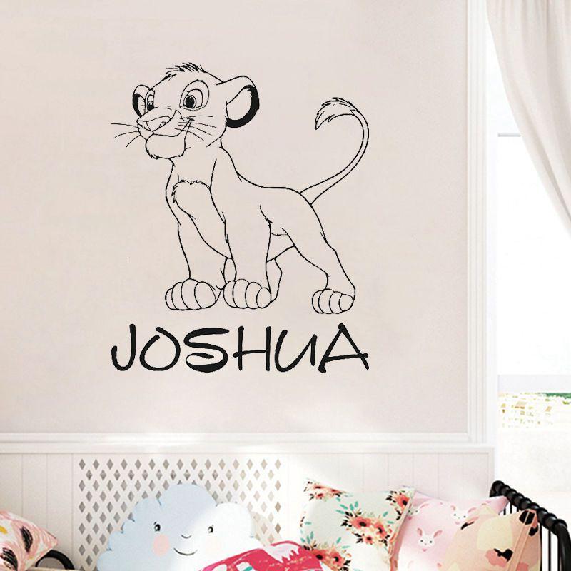 Nom personnalisé Simba Sticker mural personnalisé Lion roi Art décorations pour la maison adolescent pour enfants garçons chambre pépinière D866
