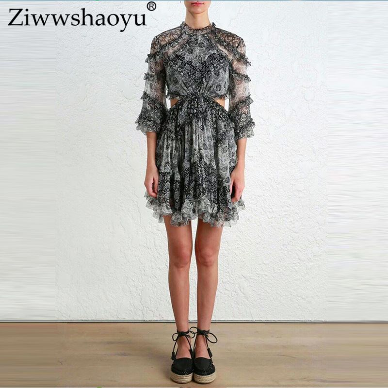 Ziwwshaoyu 2018 spring and summer new Beach holiday dress Black heavy industry Silk Print stitching Open back long sleevedress