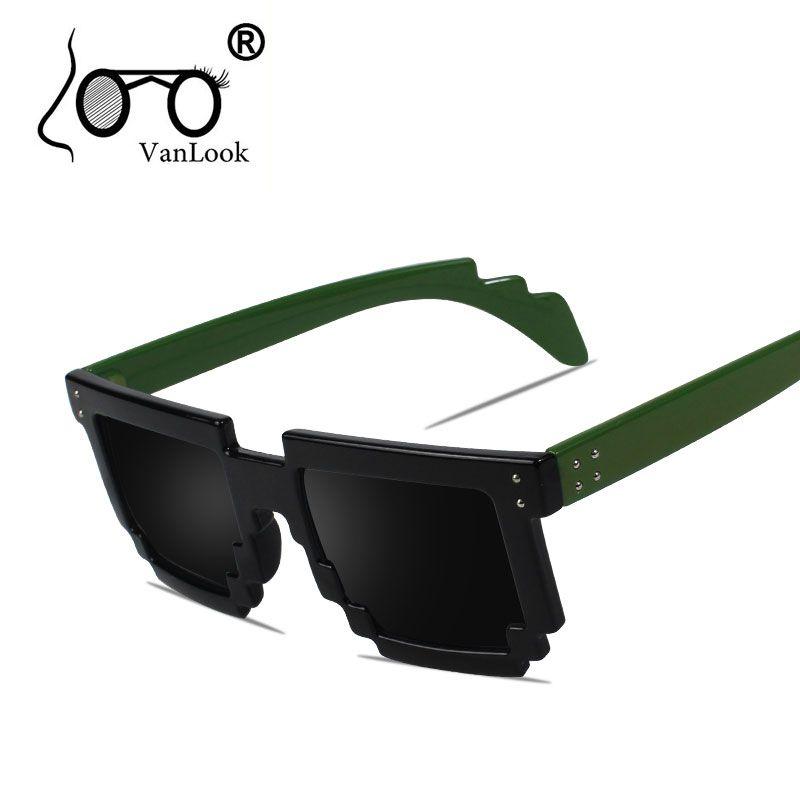 Lunettes de soleil Pixel Points pour femmes hommes mode lunettes brillant noir mat noir thé rouge rose vert tortue