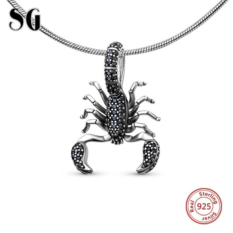 Black Scorpion Fit pandora <font><b>Pendant</b></font>,Thomas Style Rebel diy Jewelry For Men & Women, Ts Gift In 925 Sterling Silver,Super Deals