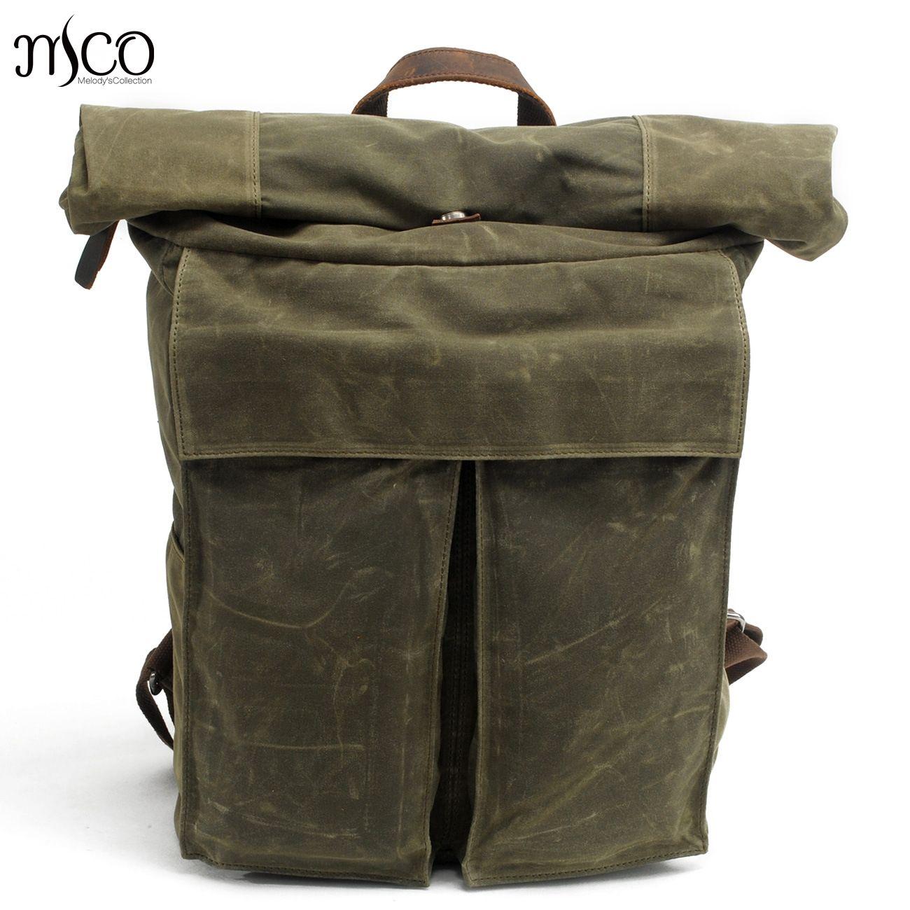 MCO 2018 Vintage Waterproof Waxed Canvas Men Travel Backpack Large Capacity Women Weekend Bag Basic Roll Top Military Knapsack