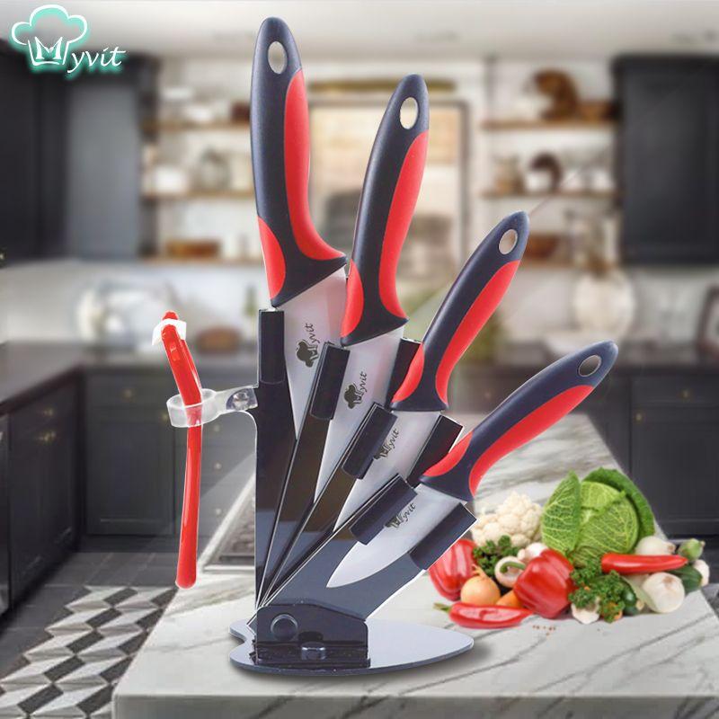 Couteau céramique cuisine couteaux titulaire Chef tranchage utilitaire Paring couteau blanc lame 3 4 5 6 pouces + support + éplucheur cuisine Set