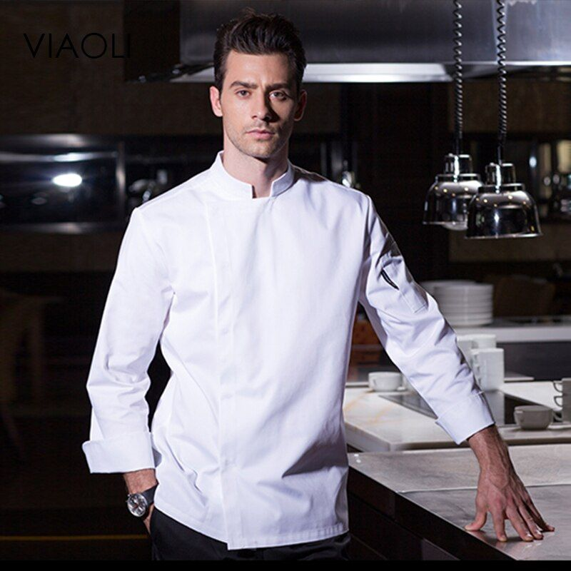 Cocinero Ropa de Trabajo de mangas Largas del Desgaste Transpirable Verano Hombres Overoles Hotel Kitchen Chef Uniforme Negro Enviar delantal cocinero chaquetas