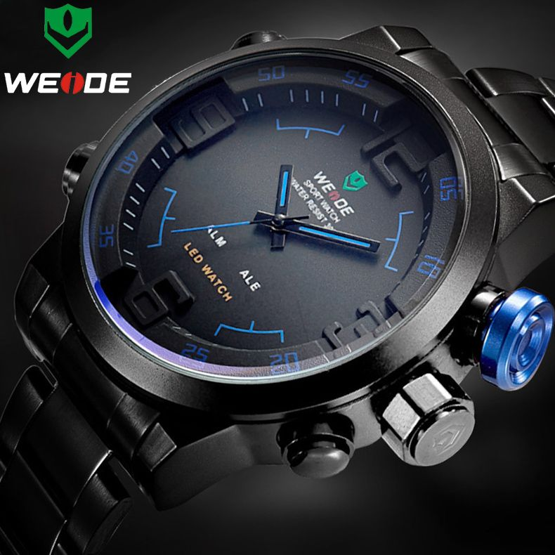Top Luxury Brand WEIDE Men Full Steel Watches Men's Quartz <font><b>Analog</b></font> LED Clock Man Fashion Sports Army Military Wrist Watch