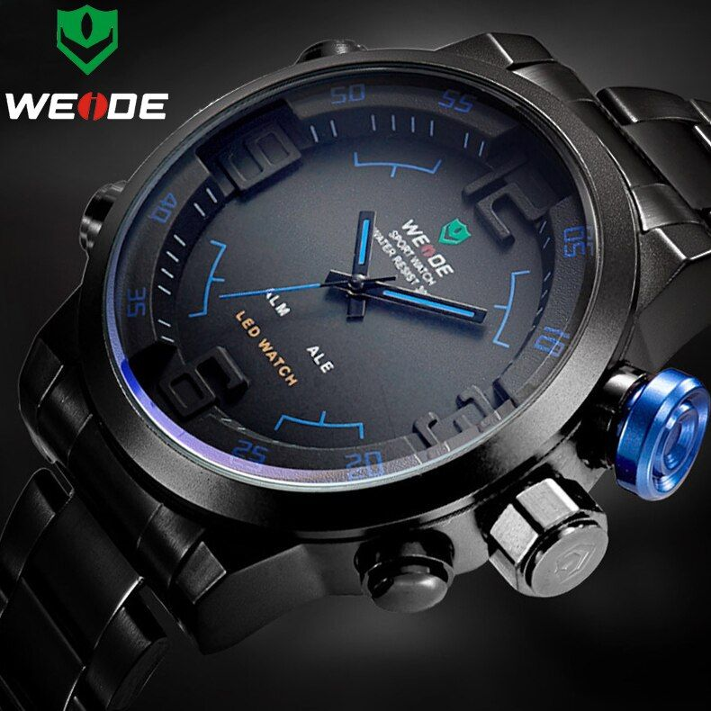 Top Marque De Luxe WEIDE Hommes En Acier Pleine Montres hommes Quartz Analogique horloge LED Homme Mode Sport Armée Militaire Montre-Bracelet