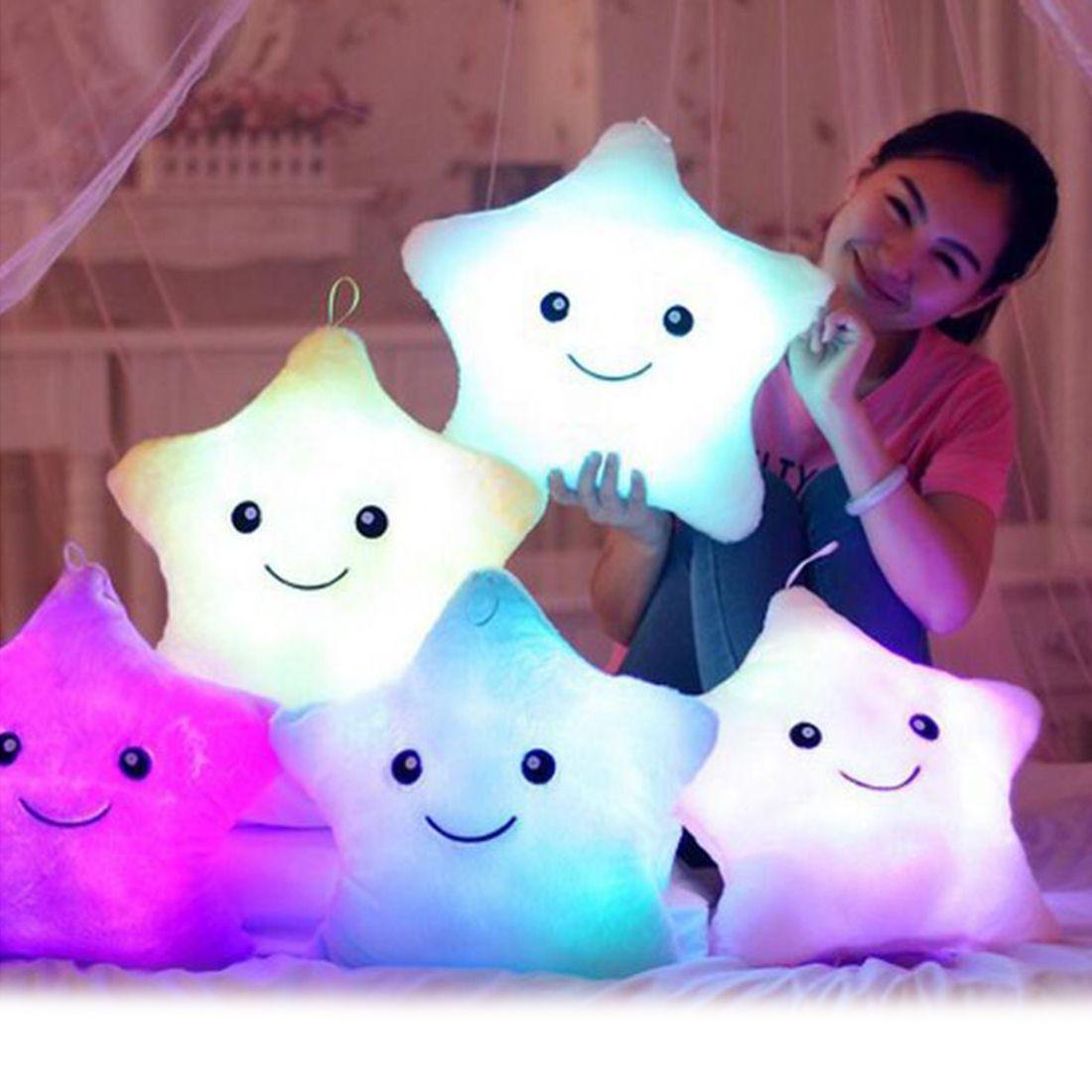36cm Colorful Body Pillow Star Luminous LED Light Pillow Cushion Soft Relax Gift Smile Body Pillow Kids <font><b>Birthday</b></font> Xmas Gift decor