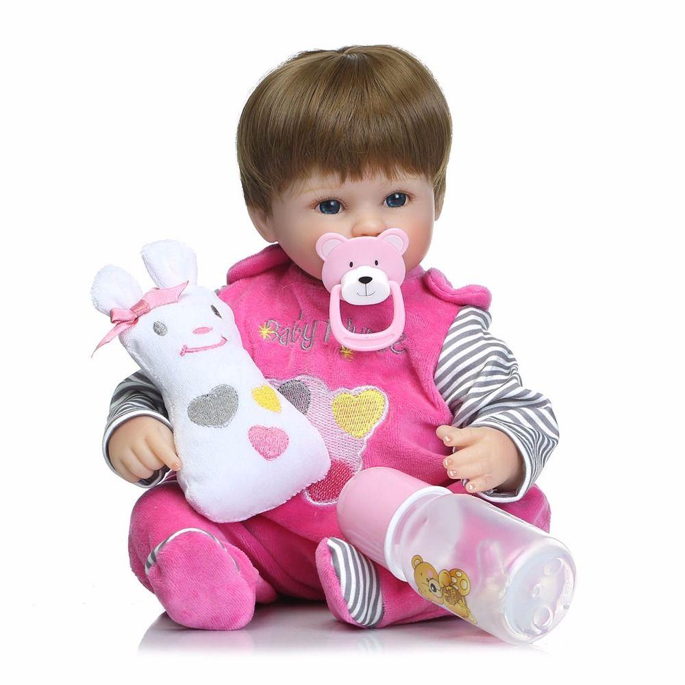 Suave de Silicona de Vinilo Muñecas 42 cm Muñeca Renacida Del Bebé Marrón Peluca niña de Algodón Hecho A Mano Cuerpo Realista juguetes para Bebés Juguetes bonecas Bebe R