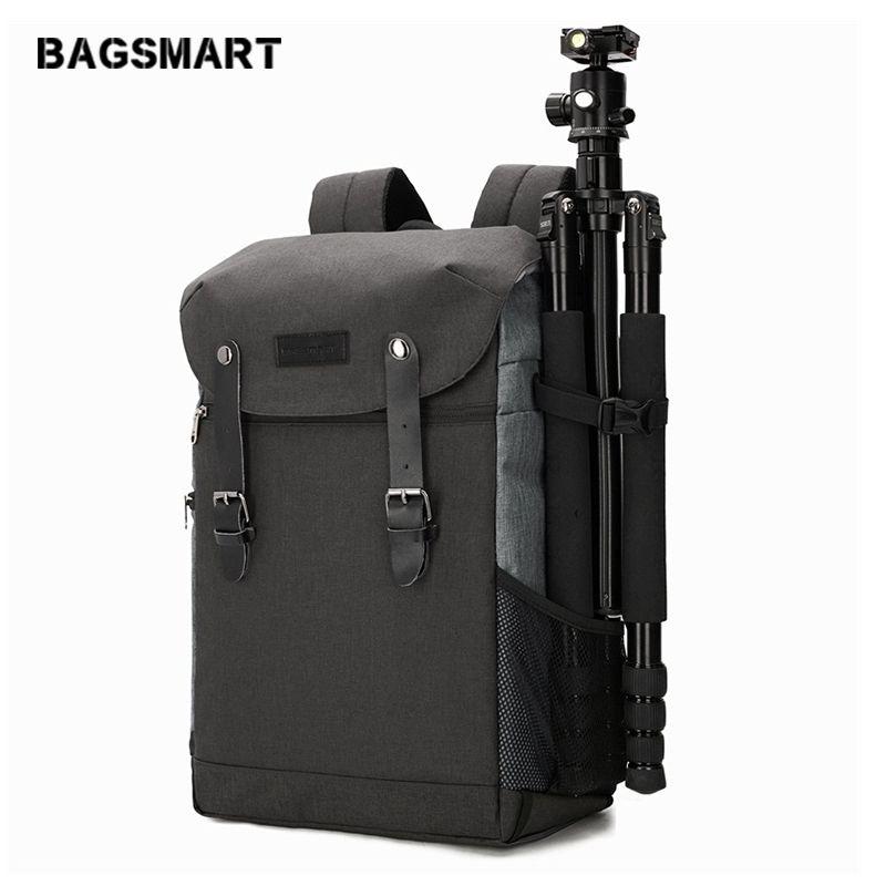BAGSMART Hommes Multifonctionnel sac à dos d'appareil photo sac dslr pour 15.6 Ordinateur portable Imperméable À L'eau housse de pluie pour Canon Nikon Caméra Accessoires