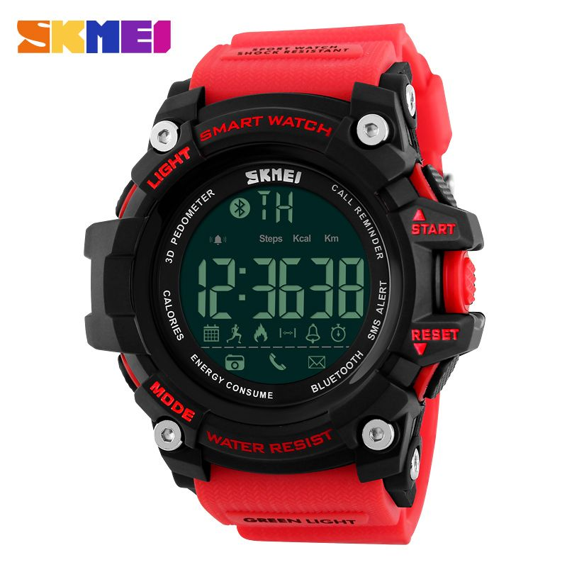 SKMEI Men Smart Watch Pedometer Calories Chronograph Fashion <font><b>Outdoor</b></font> Sports Watches 50M Waterproof Digital Wristwatches 1227