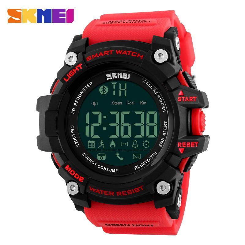 SKMEI Men Smart Watch Pedometer Calories Chronograph <font><b>Fashion</b></font> Outdoor Sports Watches 50M Waterproof Digital Wristwatches 1227