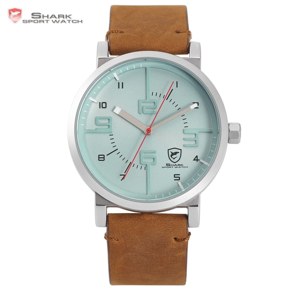 Bahamas Saw SHARK Sport Watch Blue Fashion Crazy Horse Brown Leather Casual Men Military Quartz Creative Watche Masculino /SH569