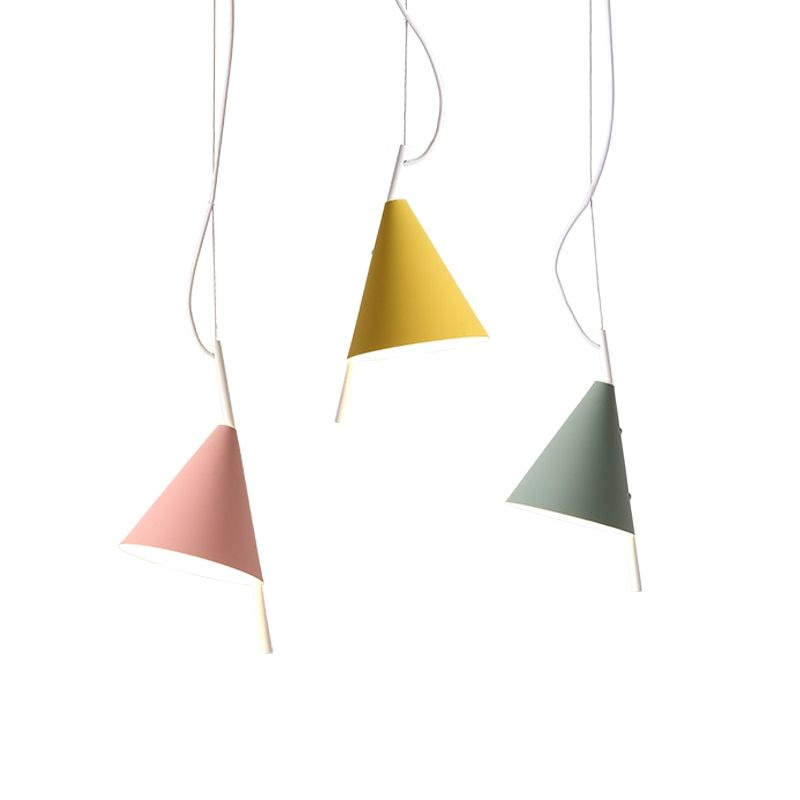 Nordic model pendant lights macaron colorful lovey Kids room bedroom foyer LED droplight Green pink yellow lampshade E14 bulb