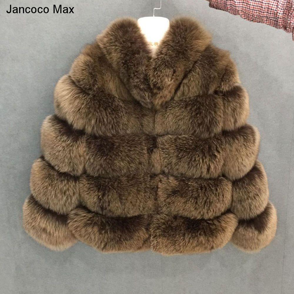 Jancoco Max 2018 New Winter Thick Warm Women's 5 Rows Real Fox Fur Collared Coat Top Quality Fur Jacket Fashion Overcoat S7194