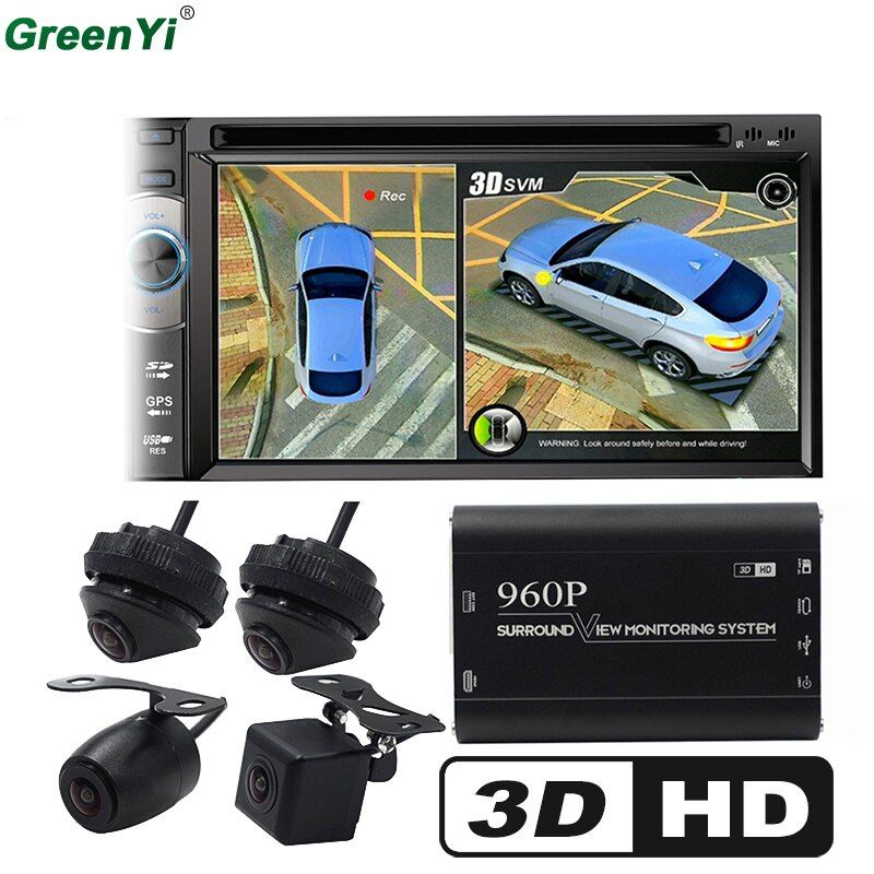 GreenYi 3D Car Surround View Monitoring System , DVR Bird View System, 4 DVR Cameras HD 960P Recorder Parking Monitoring