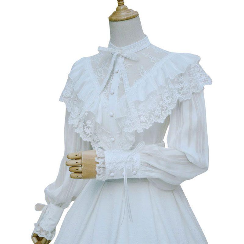 Chemisier en mousseline de soie Royal Vintage Illusion cou femmes Blouse gothique transparente à manches longues lanterne avec volants