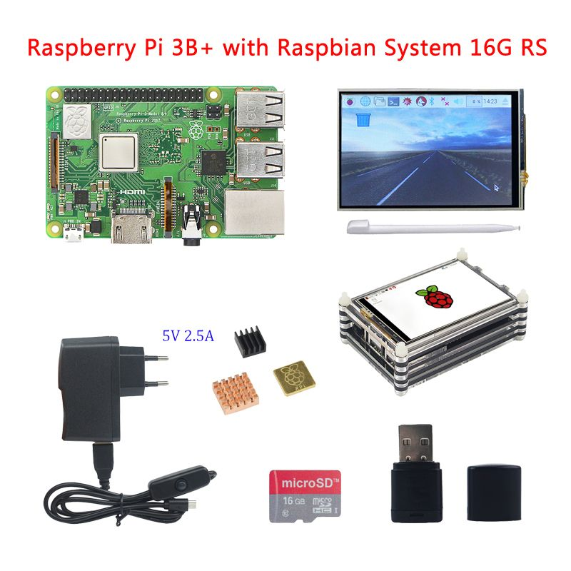 Raspberry Pi 3 Model B+(B Plus) +3.5 Inch Touchscreen+Acrylic Case+2.5A Power Supply+16G SD Card+Card Reader+3pcs Heat Sink