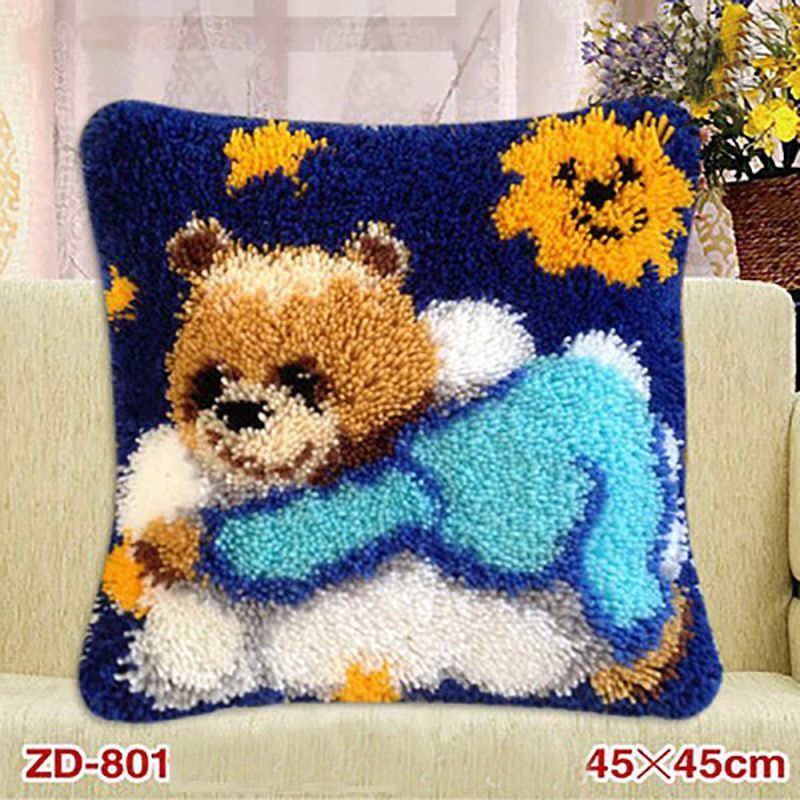 Latch Hook Rug Kits Embroidery Pillow Kit La Casa De Papel Serie Needlework Tapestry Cushion Kit Embroideried Animals Pillowcase