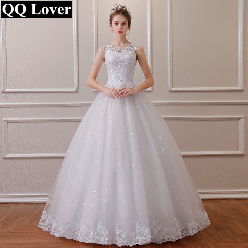 QQ Lover 2019 Lace Embroidered Beading Vintage Sweet Straps Wedding Dress Yarn Puff