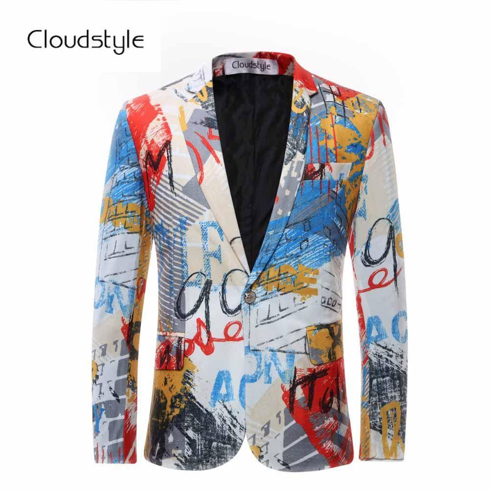 2018 Male Floral Jacket Suit Painting Mens Blazers Fashion Single Button Suits For Men Top Quality Slim Fit Party Blazers Men